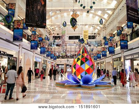 Delhi, India - 8th Oct: Festival decorations at a shopping mall in Delhi. The shopping season sees a huge number of people heading to these malls for the deals, discounts and offers