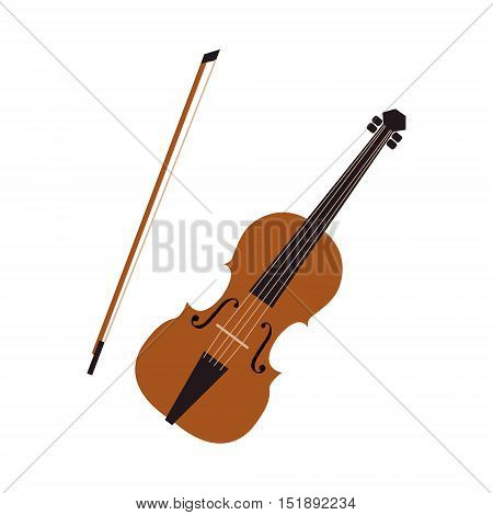 Musical instrument violin. Vector isolated flat isolated