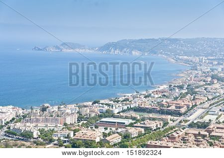 Views of Javea town from Montgo Massif. Javea is a coastal town located in the comarca of Marina Alta in the province of Alicante Spain by the Mediterranean Sea.