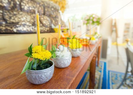 Flowers, Incense And .candles Set For Buddhist Worship Buddha.-solf Focus , Thailand