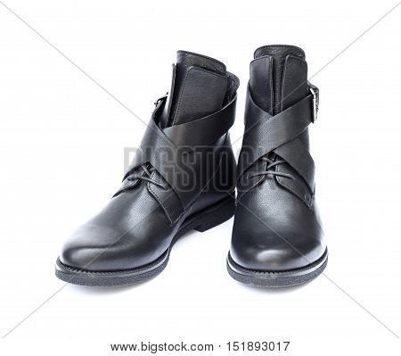 Pair of black female boots isolated on white background with clipping path