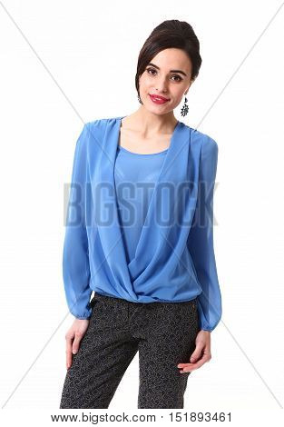 woman with updo hair style in formal blue long sleeve blouse close up portrait standing isolated on white