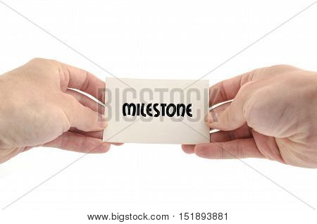 Milestone text concept isolated over white background