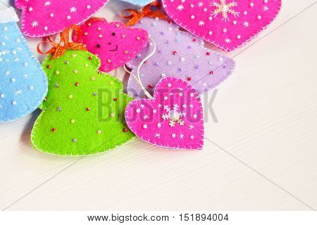 Christmas ornaments. Christmas felt ornaments set. Felt crafts. Christmas background