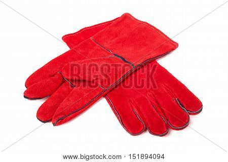 Gloves for welding, welding equipment, gloves, isolated on white background, protective clothing, perform welding work