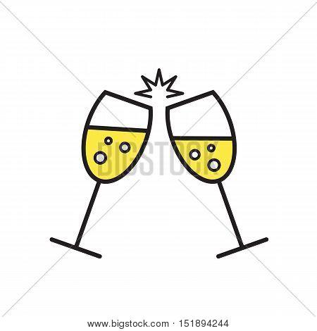 Two cute champagne glasses. Conceptual vector illustration of sparkling champagne glasses. Champagne glass icon