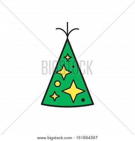 Celebration happy birthday party symbols carnival festive vector set.Birthday hat with stars isolated vector illustration.