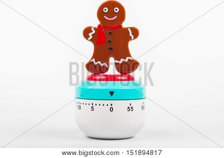 Cooking timer gingerman on a white background