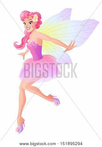 Cute flying fairy in pink flower dress with butterfly wings. Cartoon style vector illustration isolated on white background.