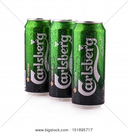 KAMCHATKA RUSSIA - OCTOBER 15 2016: Carlsberg beer isolated on white background. Carlsberg Group is Danish brewing company founded in 1847 with headquarters in Copenhagen.