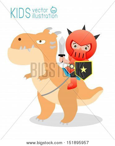 Knight sitting on a monster isolated on white background, cute Superhero in Story, Superhero Children's, Superhero Kids. Knight sitting on a dragon,Vector Illustration.