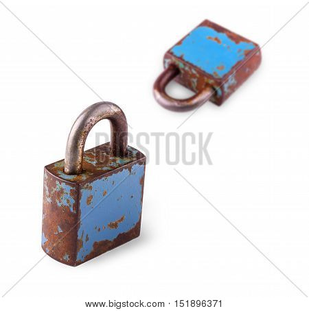 old closed iron rusty Padlocks on white background