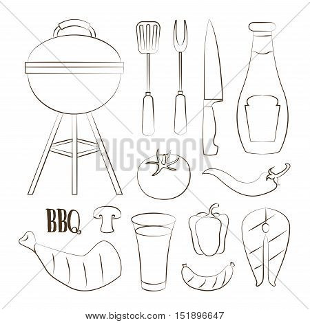 Set of various food barbecue icons. Vector illustration, EPS 10