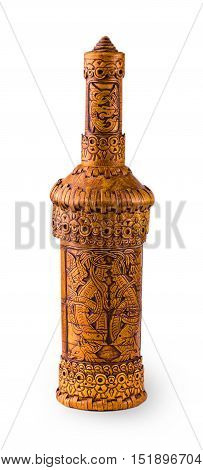 Wooden bottle of birch bark on white background