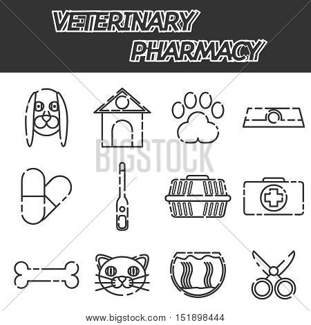 Veterinary pharmacy icons set with pills and herbs mortar abstract isolated vector illustration