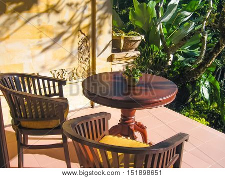 Ubud, Bali, Indonesia - April 13, 2012: View of bungalow with seating at Tjampuhan Spa hotel at Ubud