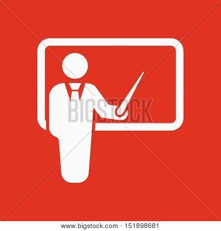 The teacher icon. Training and presentation, seminar, learning symbol. Flat Vector illustration