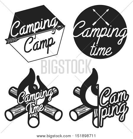 Set of vintage camping and outdoor adventure emblems, logos and badges. Camp tent in forest or mountains. Camping equipment. Vector.
