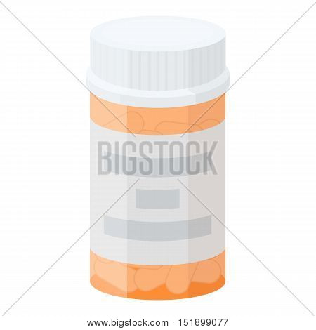 Prescription bottle icon in cartoon style isolated on white background. Drugs symbol vector illustration.