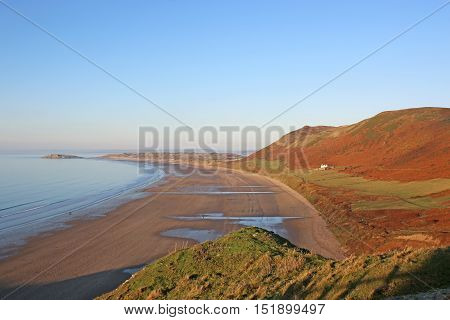 Rhossili beach on the Gower Peninsular, Wales