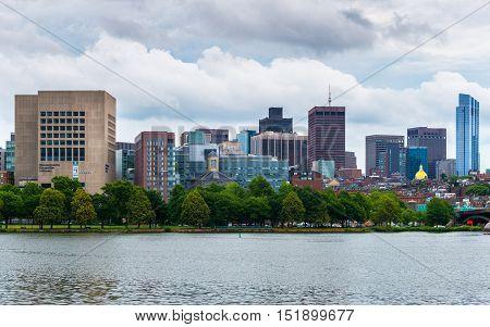 Boston, Massachusetts - June 2016, USA: Boston Skyline in cloudy rainy day, view from Cambridge