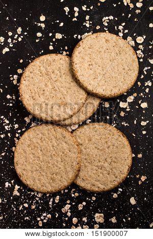 home made round scottish oatcakes on slate