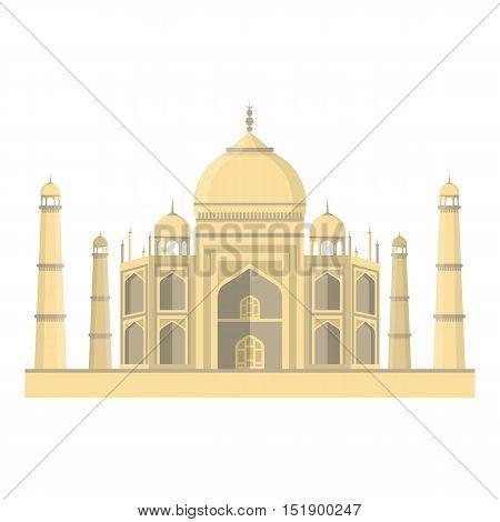 Taj Mahal icon in cartoon style isolated on white background. India symbol vector illustration.