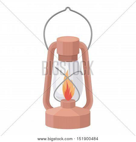 Kerosene lamp icon in cartoon style isolated on white background. Light source symbol vector illustration