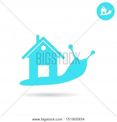 Snail with human house on the back real estate logo concept 2d vector icon illustration isolated on white background eps 10