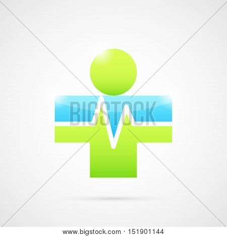 Medical cross forms human body abstract icon medical logo template 2d vector illustration on gray background eps 10