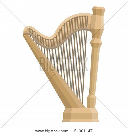 Harp icon in cartoon style isolated on white background. Musical instruments symbol vector illustration