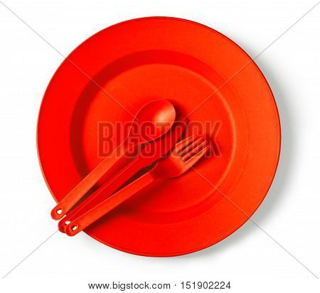 disposable tableware red close-upю with clipping path