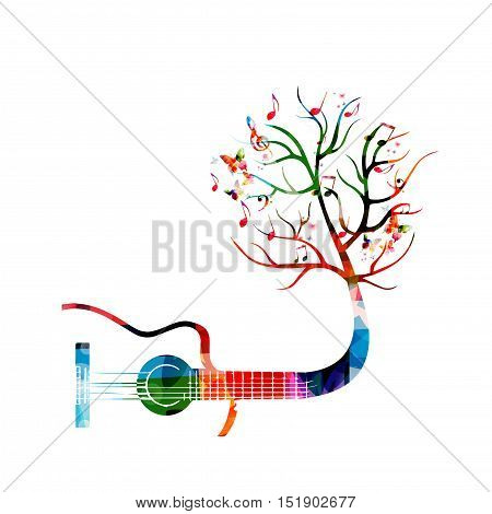 Creative music style template vector illustration, colorful guitar, tree inspired instrument background with music notes. Poster, brochure, banner, flyer, concert, music festival, music shop design