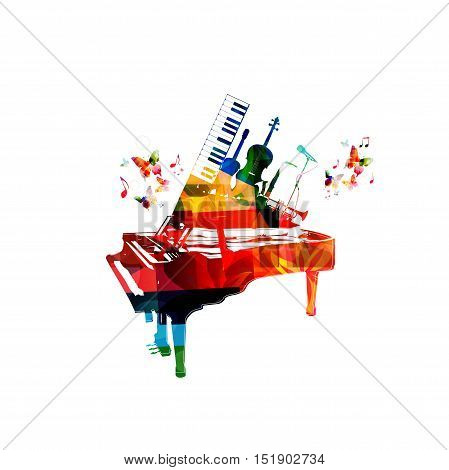 Music style template vector illustration, colorful piano, microphone, trumpet, saxophone, synthesizer, guitar, violoncello. Poster, music concert, festival, music shop and music instruments design