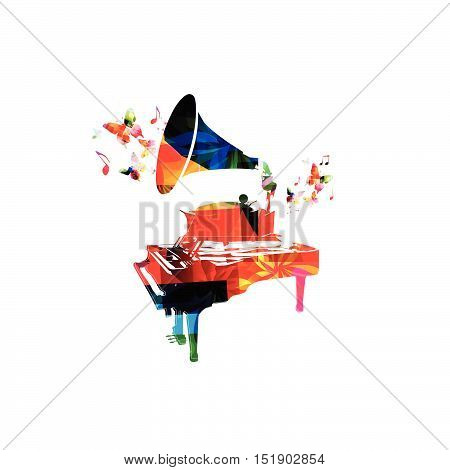 Creative music concept vector illustration, colorful piano and gramophone, music instrument with music notes. Design for poster, brochure, music concert, festival, music shop, music style template