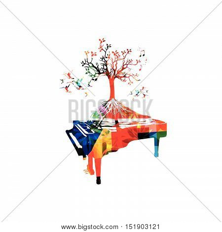 Creative music style template vector illustration, colorful piano, tree inspired instrument background with music notes. Poster, brochure, banner, flyer, concert, music festival, music shop design