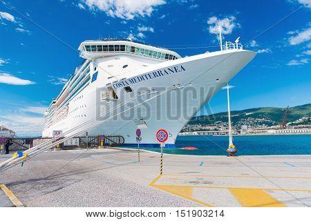 Trieste - August 2016, Italy: Italian Spirit-class Cruise ship