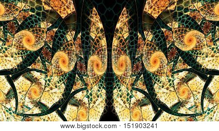 Abstract fantasy mosaic ornament on black background. Symmetrical pattern. Creative fractal design in yellow orange and dark green colors.