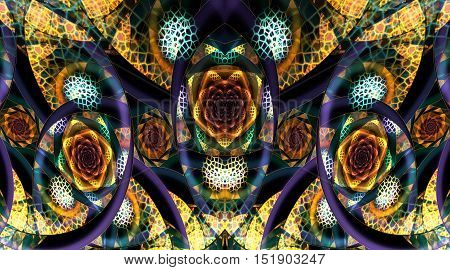 Abstract fantasy mosaic ornament on black background. Symmetrical pattern. Creative fractal design in yellow orange blue and green colors.