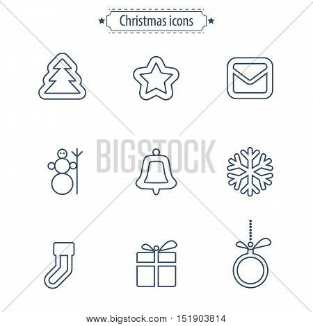 Set of flat outlined Christmas icons on white background. Vector illustration.