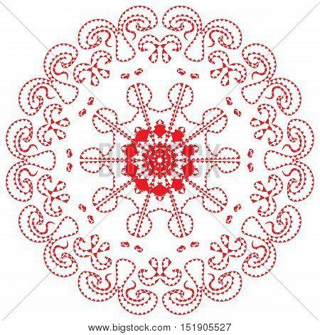 Vector Image. Red Mandala Meditative Asian style arabesque