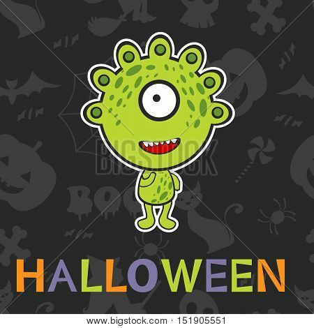 Halloween card with cute monster. vector illustration
