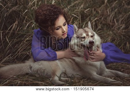 Woman said to the dog's ear she is dressed fabulously fairy.
