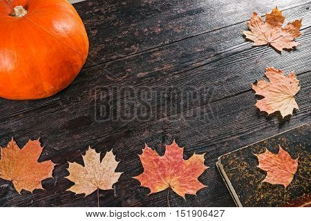 Bottle and glass of pumpkin juice decorated for Halloween party in the frame of fallen leaves