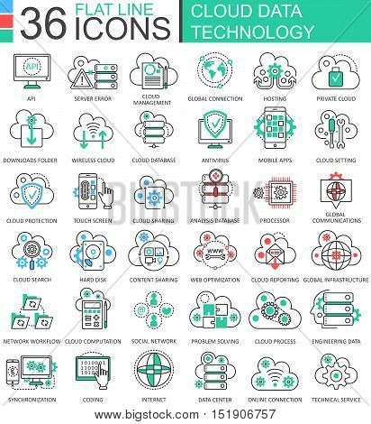 Vector Cloud data technology ultra modern color outline line icons for apps and web design