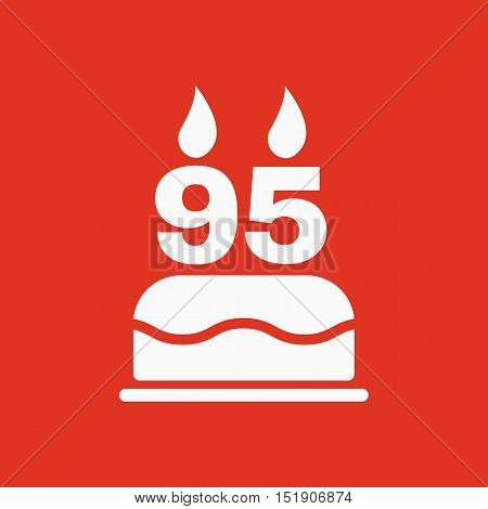 The birthday cake with candles in the form of number 95 icon. Birthday symbol. Flat Vector illustration