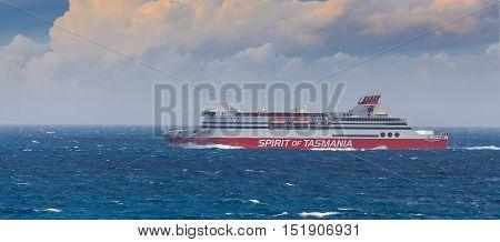 Bass Strait Australia - October 1 2016: Spirit of Tasmania cruise ferry crossing Bass Strait