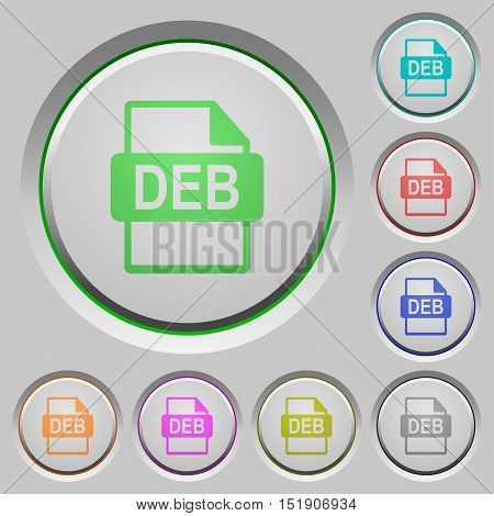 Set of color DEB file format sunk push buttons.