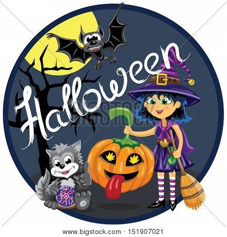 Halloween scene. Witch with broom holds funny pumpkin. Cat with magic sphere. Bat is flying in front of moon.