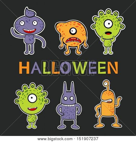 Halloween card with cute monsters collection. vector illustration